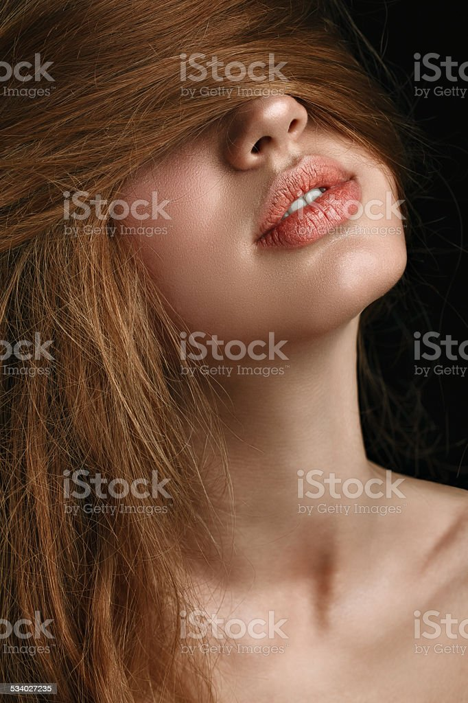 Perfect Lips. Sexy Girl Mouth close up. Natural plump stock photo