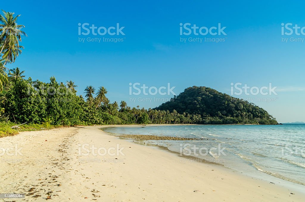 Perfect lonly island beach blue sky endlessly long stock photo