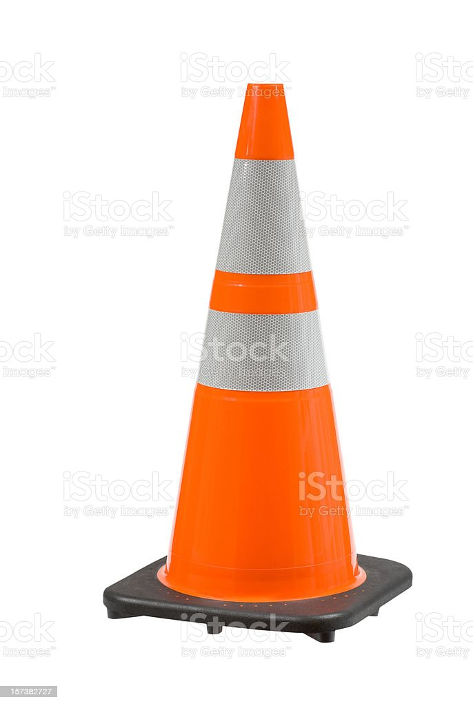Perfect Orange Pylon Safety Cone High View Clipping Path royalty-free stock photo