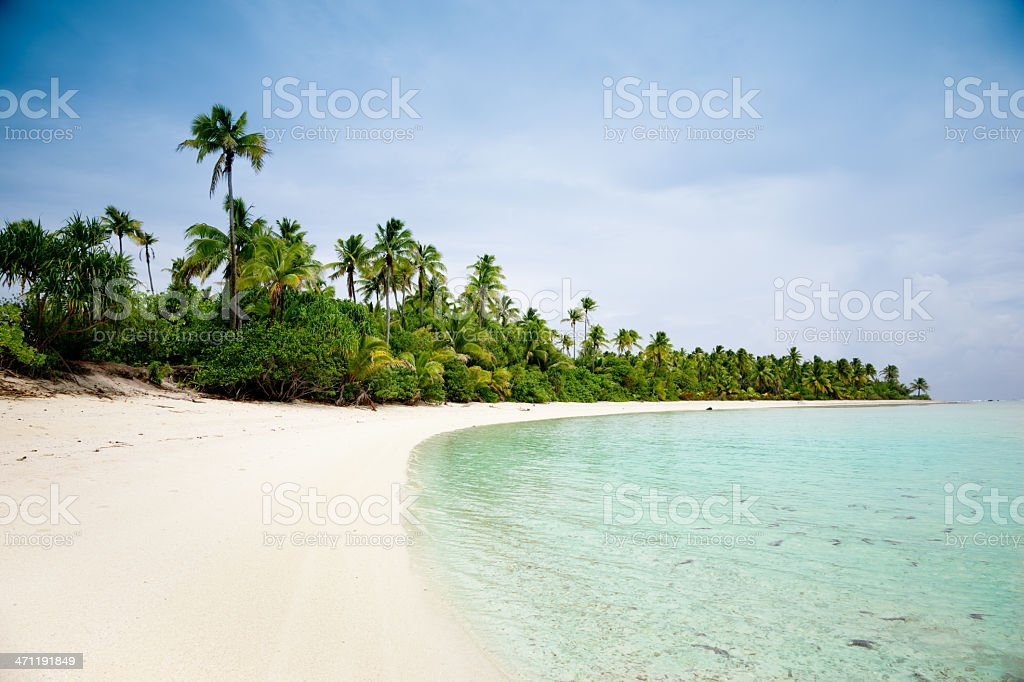 Perfect Palm Beach Tapuaetai Aitutaki royalty-free stock photo