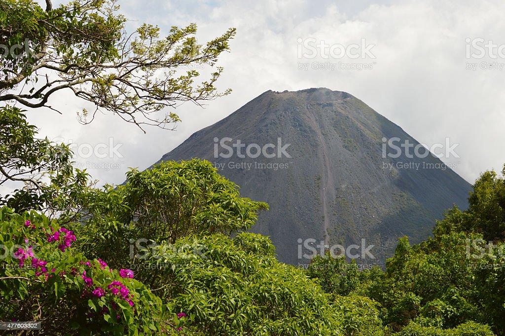 Perfect peak of the active Izalco volcano in El Salvador stock photo