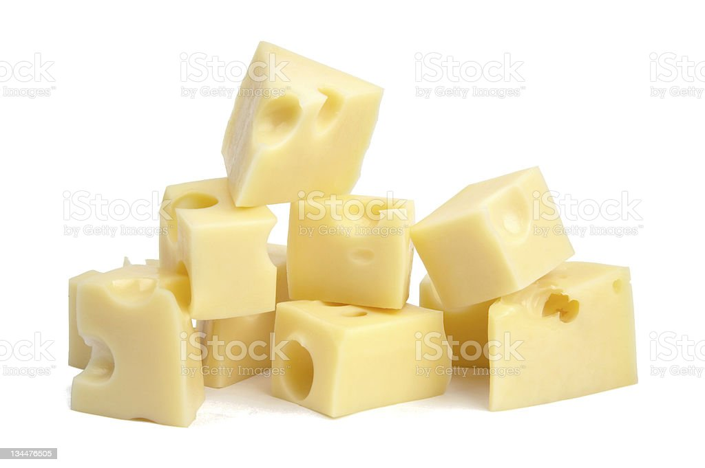 Perfect Pieces of Swiss Cheese. stock photo