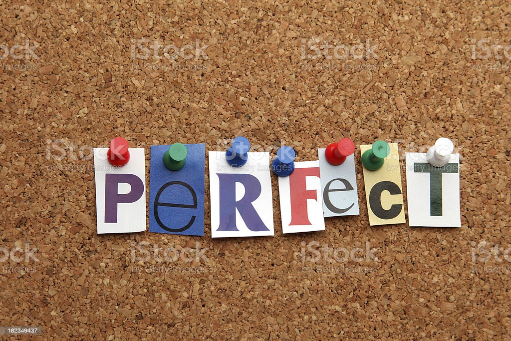 Perfect pinned on noticeboard royalty-free stock photo