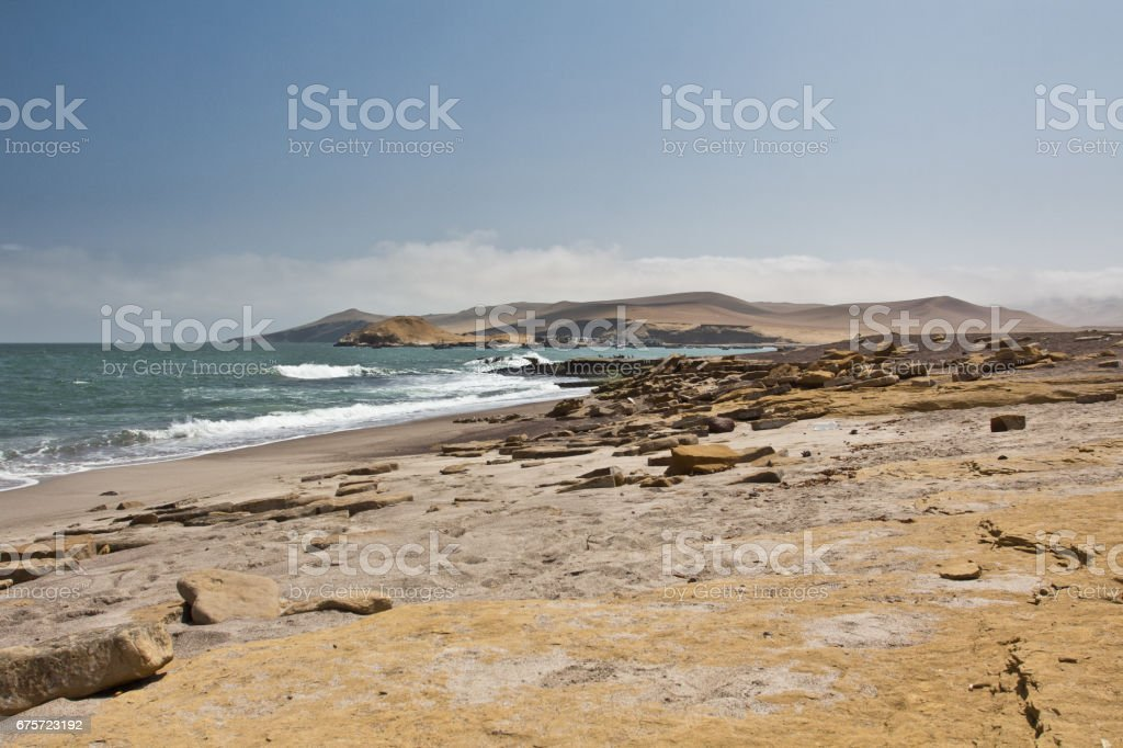 Perfect place to see tropical desert, wide cliffs and coloful beaches on the rocky islands and national reserve. Small islands near the town of Paracas. stock photo