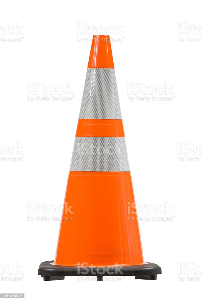 Perfect Pylon Safety Cone W/ Clipping Path stock photo