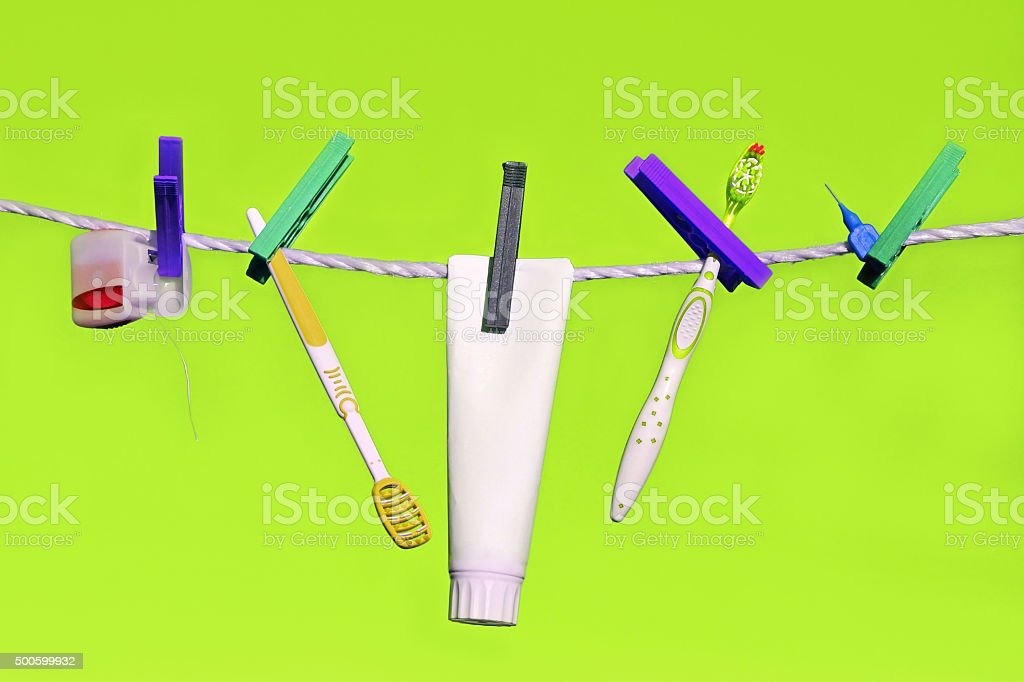 perfect range of dental care and oral hygiene stock photo
