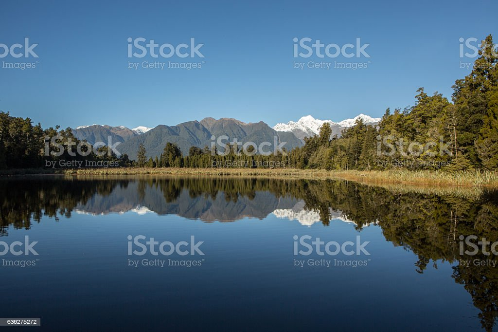 Perfect reflection of Mount Cook on lake Matheson, New Zealand stock photo