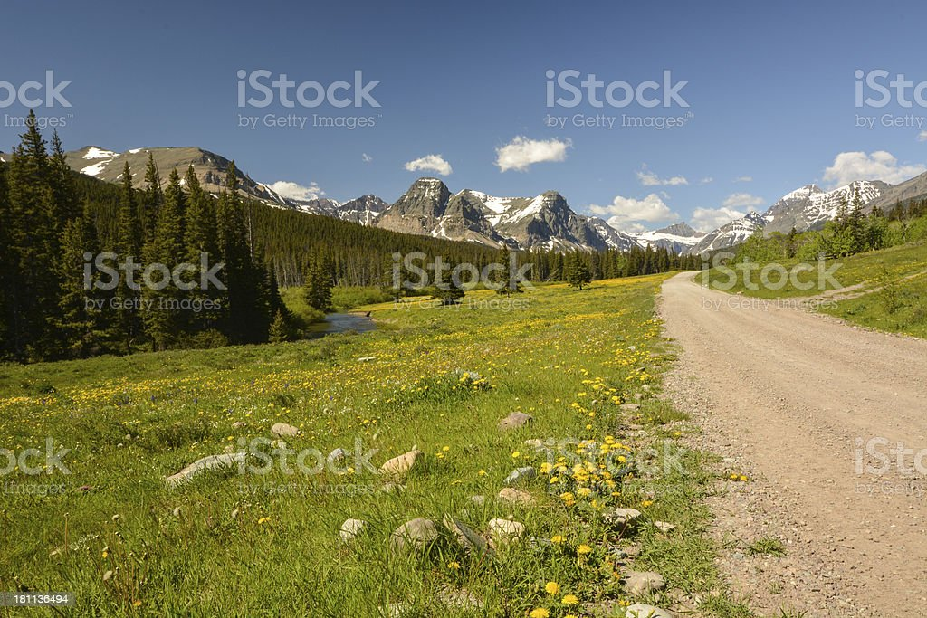 Perfect road trip into the Rocky Mountains royalty-free stock photo