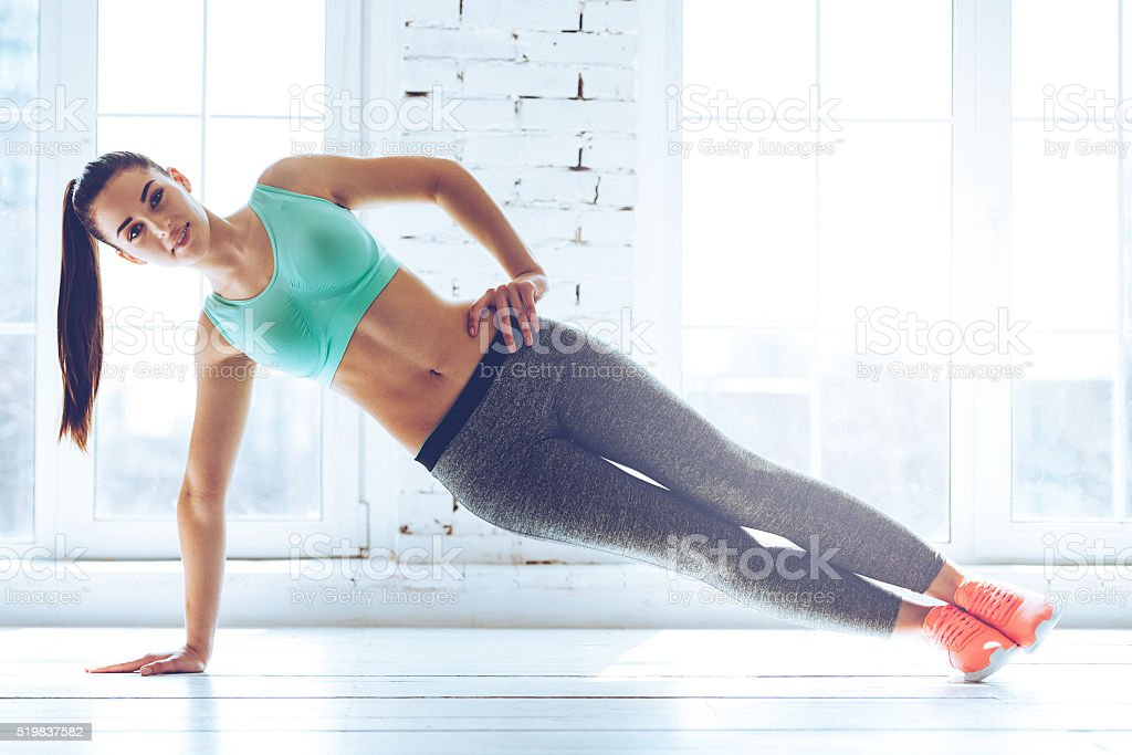 Perfect side plank. stock photo