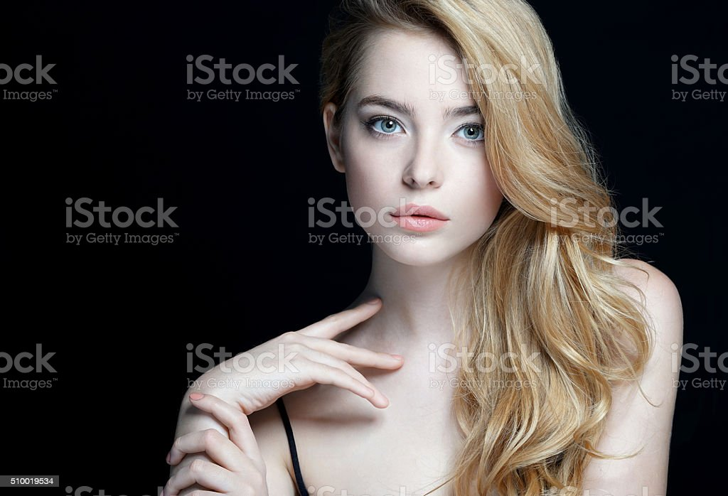 Perfect skin. Close-up of an attractive girl stock photo
