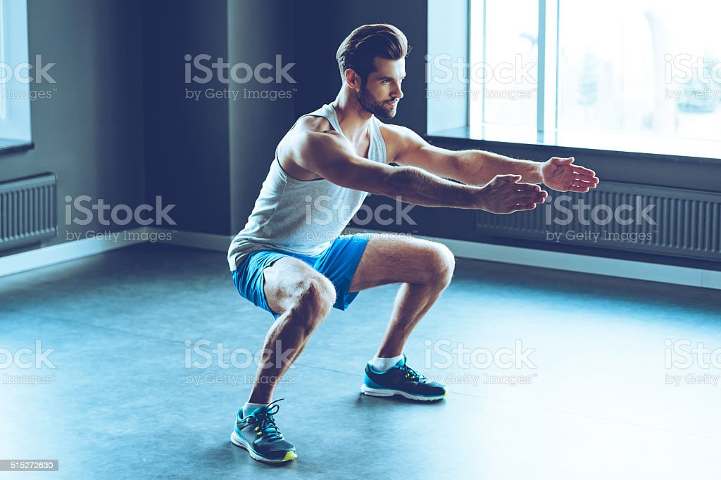 Perfect squat. stock photo