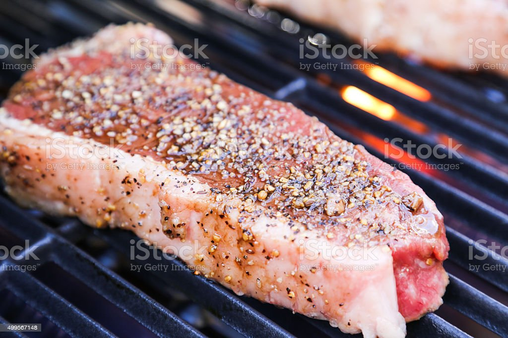 Perfect steak on the BBQ stock photo