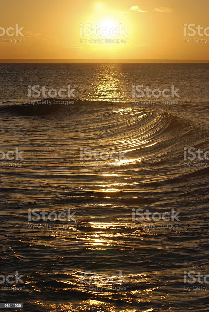 Perfect sunset with waves in front royalty-free stock photo