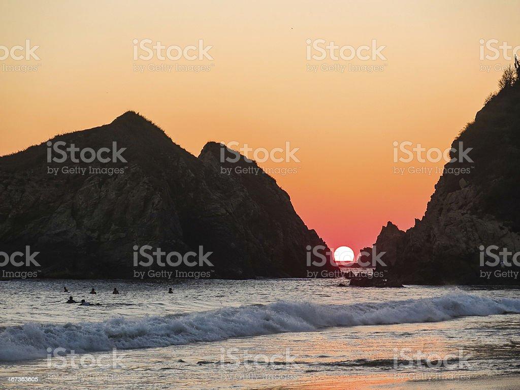 Perfect Sunset, Zipolite, Oaxaca, Mexico stock photo