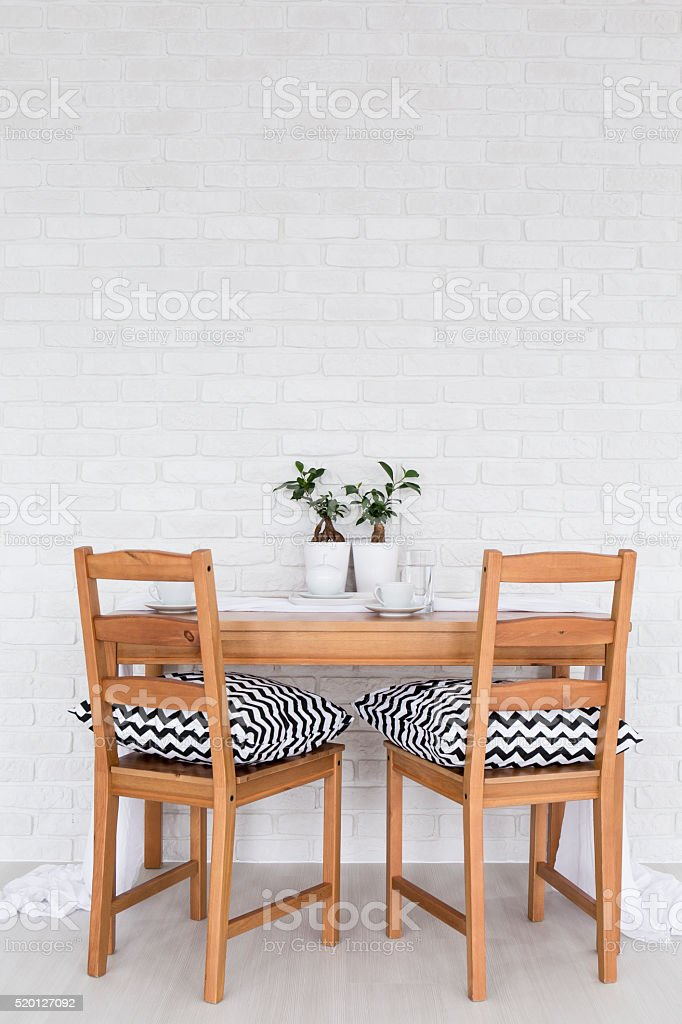 Perfect table for two stock photo