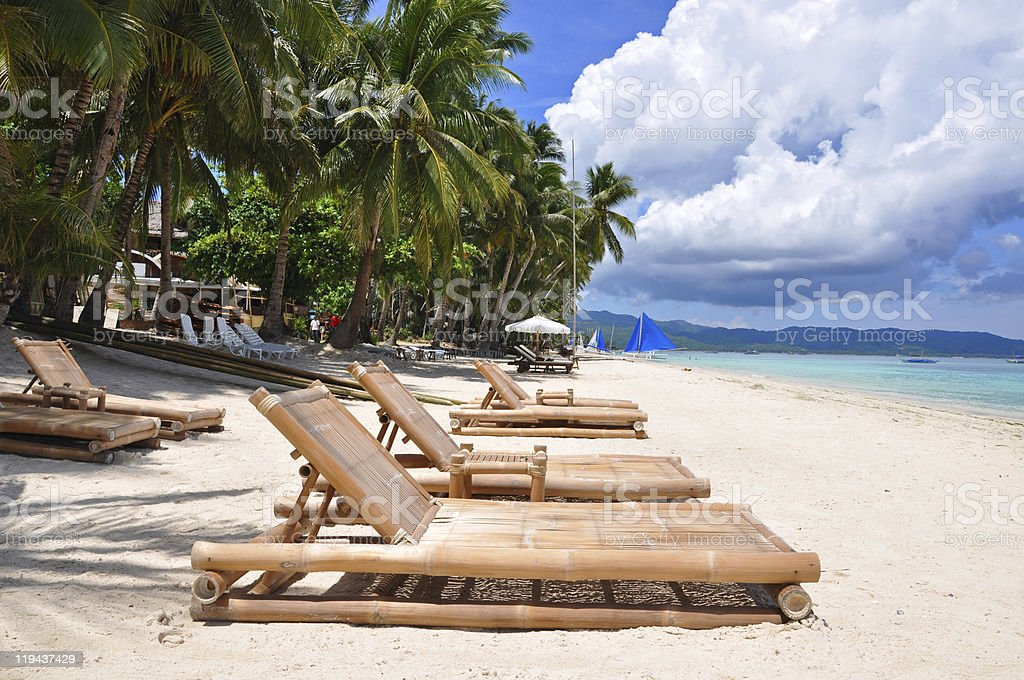 perfect tropical white sand beach in Boracay royalty-free stock photo