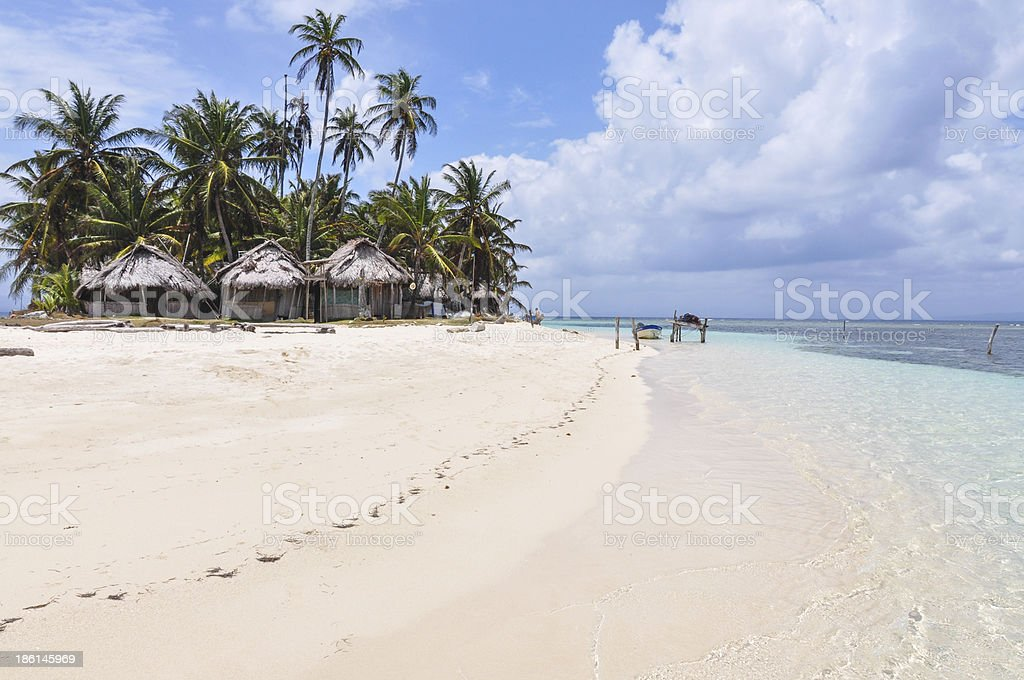 Perfect unspoiled caribbean island with native huts, San Blas. P stock photo