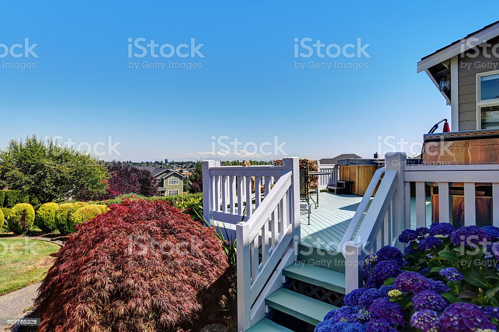 Perfect view of backyard with walkout deck stock photo