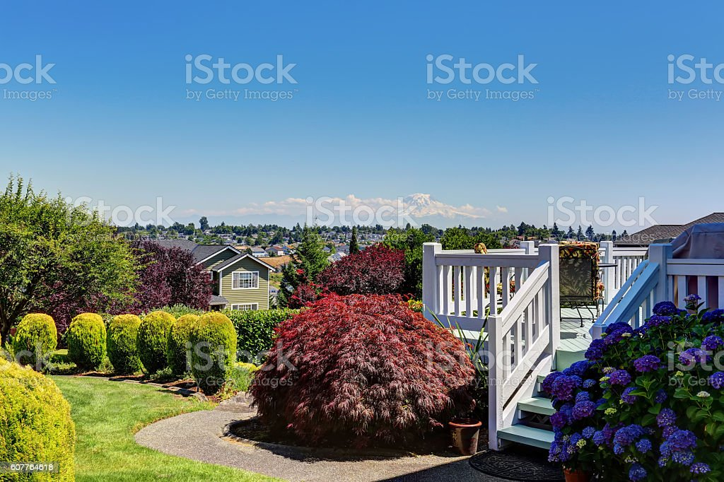 Perfect view of backyard with white railings deck stock photo
