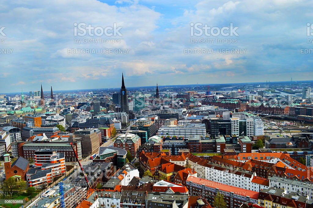 Perfect view of Hamburg from St. Michealis Church stock photo