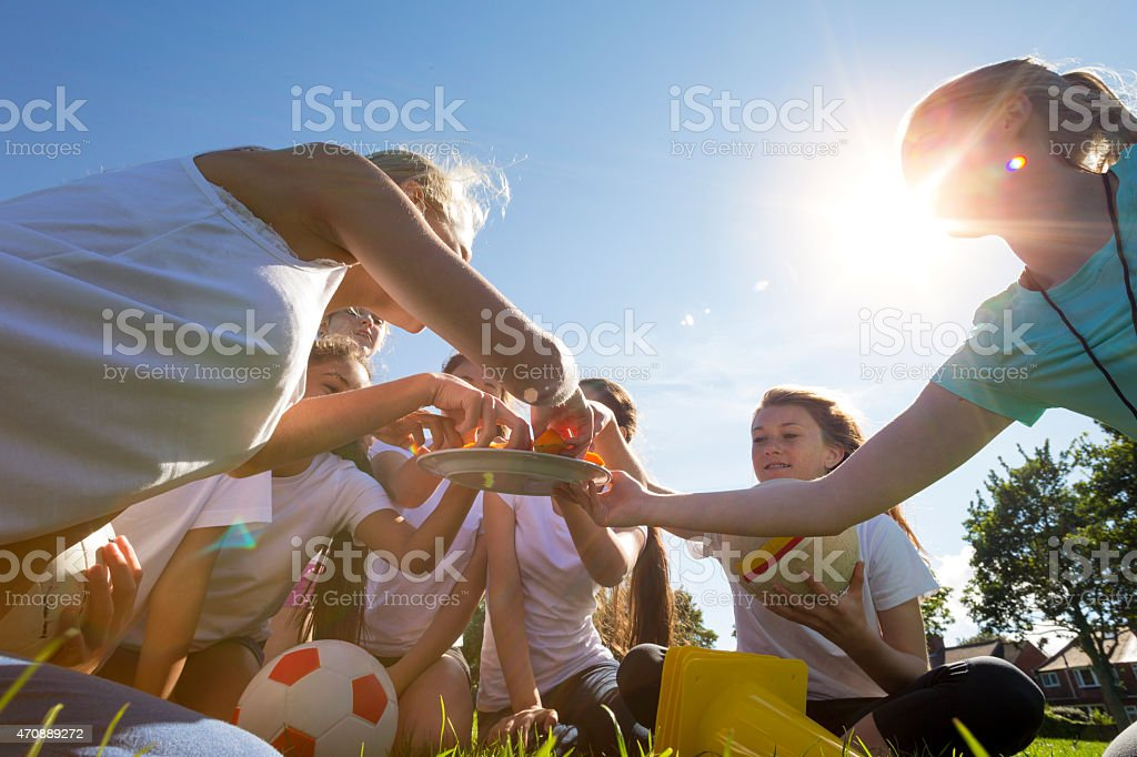 Perfect weather for a game of soccer stock photo