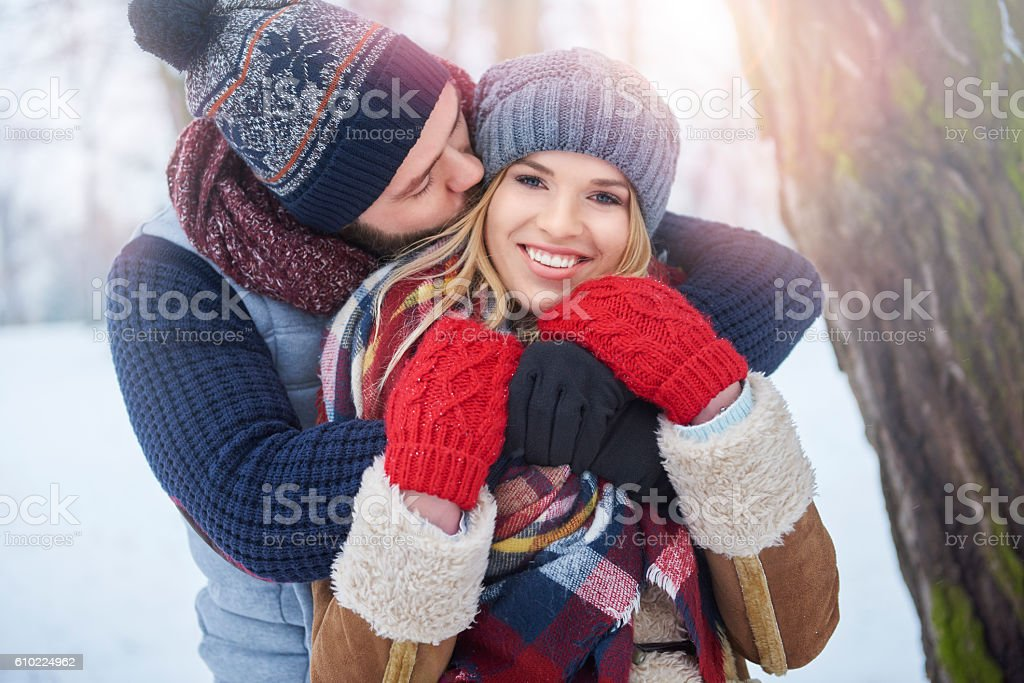 Perfect weather to have a kiss stock photo