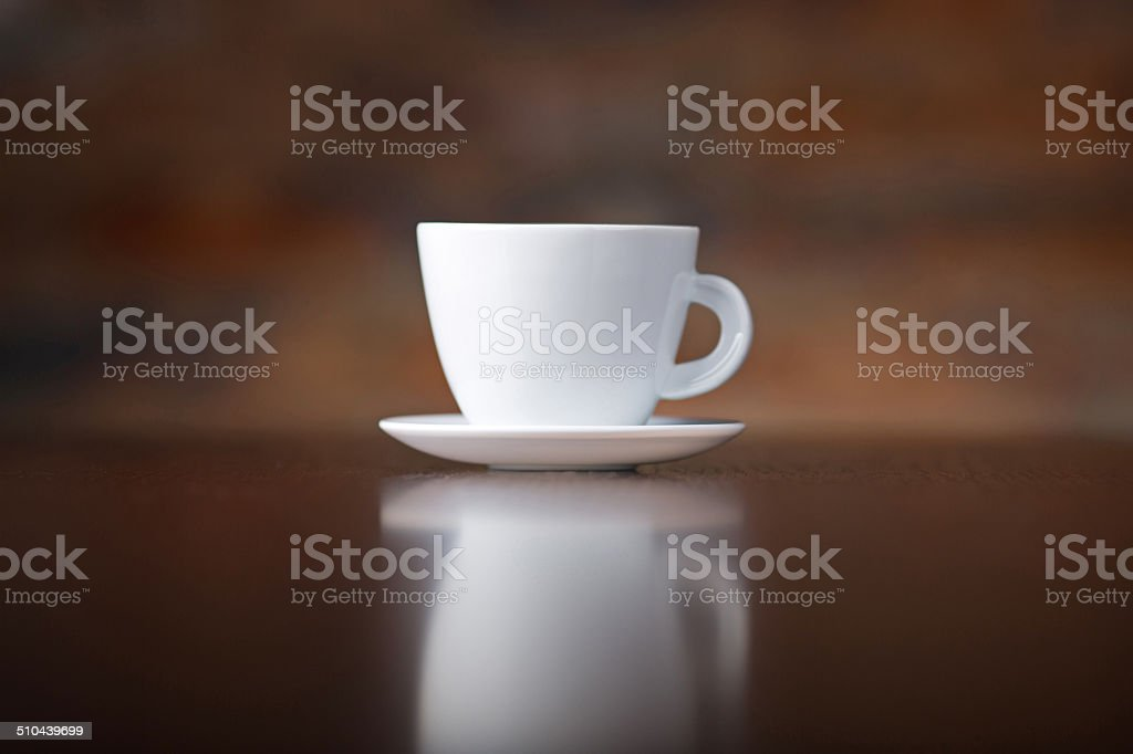 Perfect white coffee cup on wood table stock photo