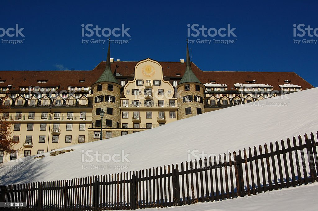 Perfect Winter Fairytail Castle in the Swiss Alps royalty-free stock photo
