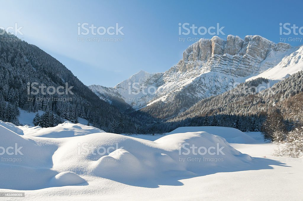 Perfect Winter Landscape with Snow and Mountain royalty-free stock photo