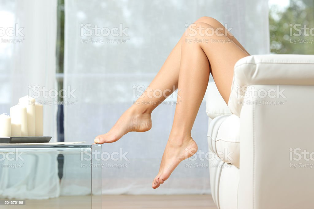 Perfect woman legs hair removal concept stock photo