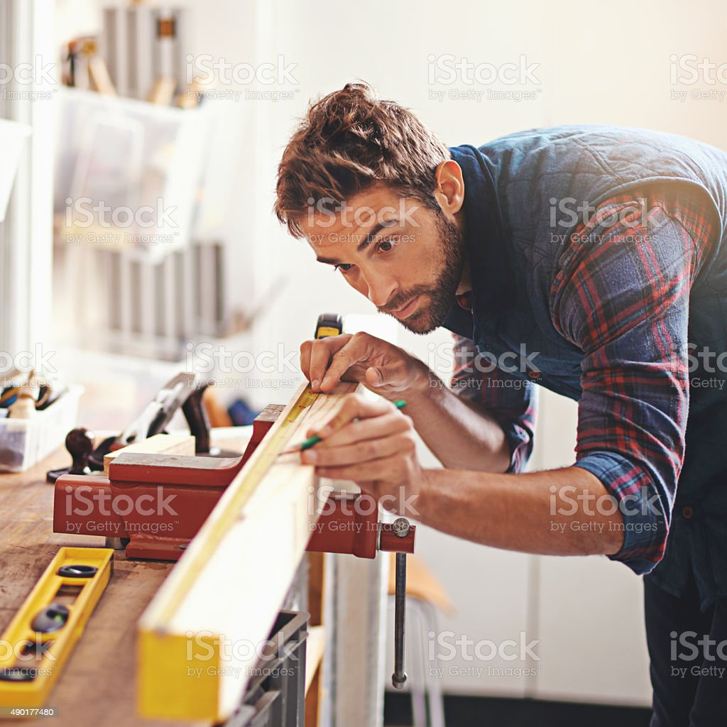 Perfection is measured in millimeters stock photo