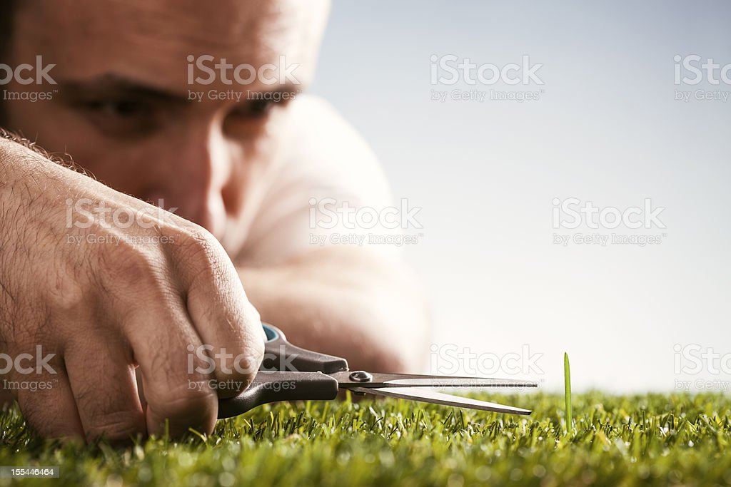 Perfectionist - Garden Gardening Perfection Grass Scissors Humor stock photo