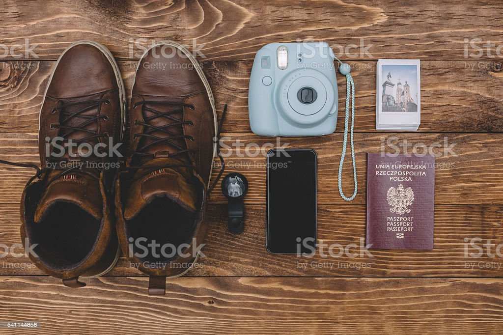 Perfectly arranged accessories - knolling concept stock photo