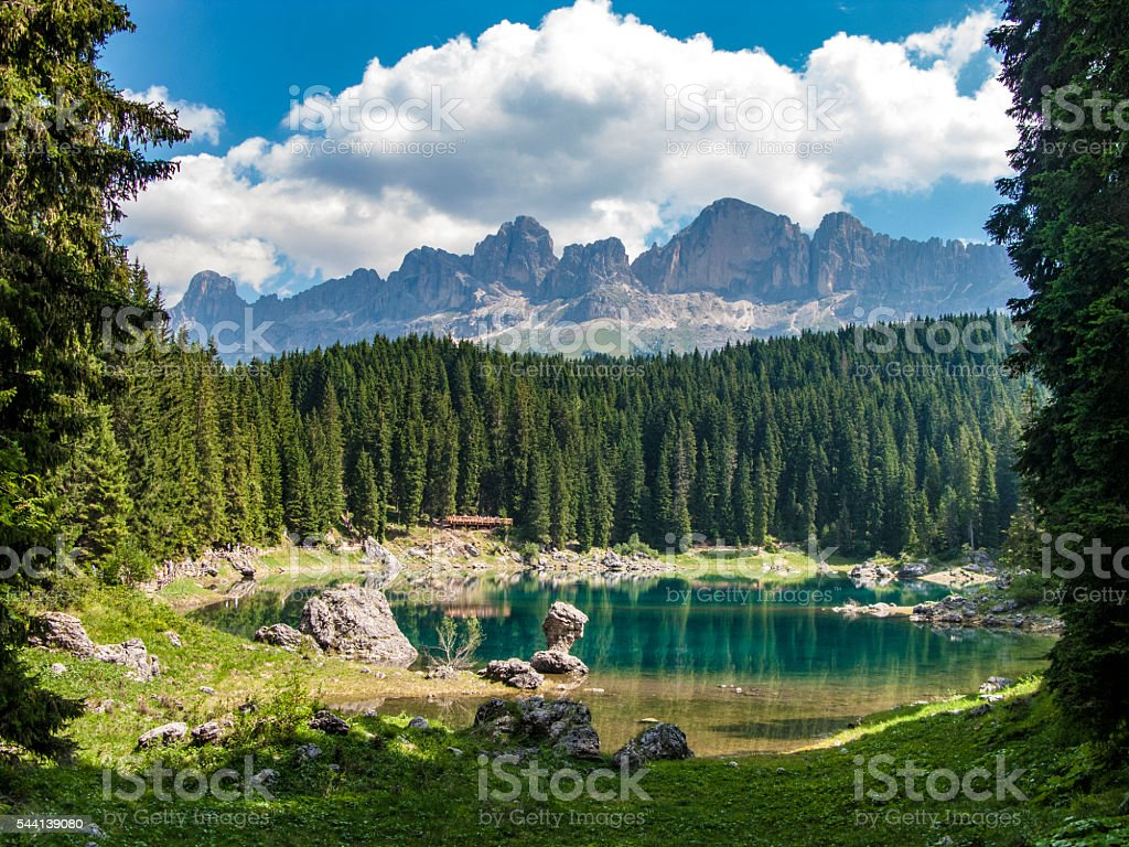 Perfectly clear emerald lake stock photo
