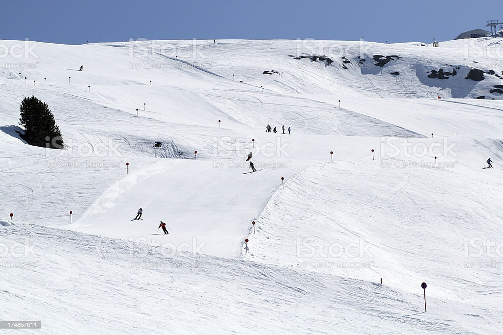 Perfectly groomed slopes royalty-free stock photo