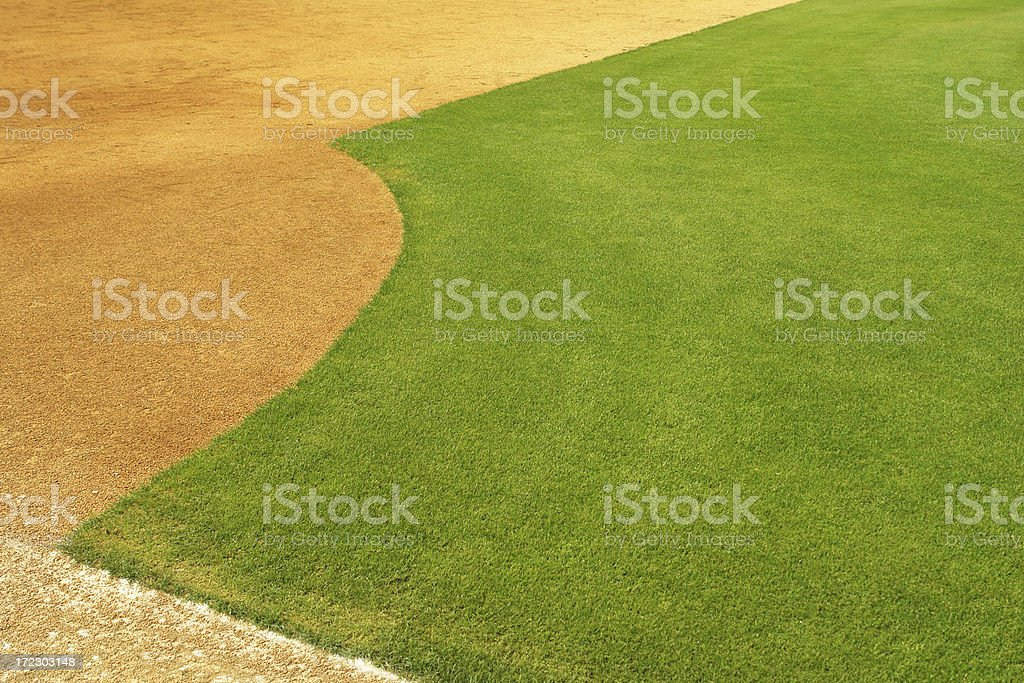 Perfectly manicured baseball field royalty-free stock photo