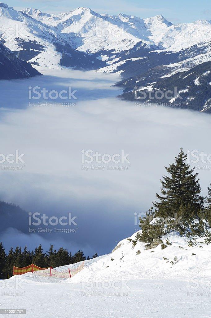 perfectly prepared ski slope stock photo