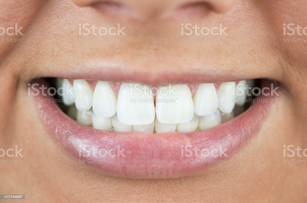 Perfectly White Teeth With Smile stock photo