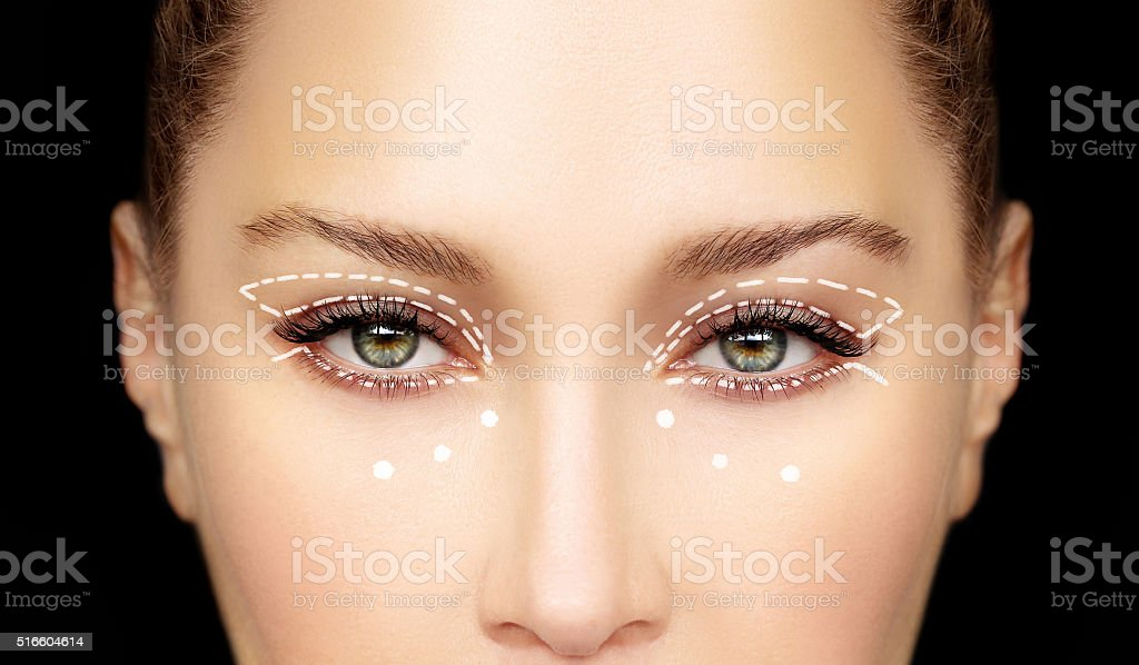 Perforation lines on females face, plastic surgery concept. stock photo