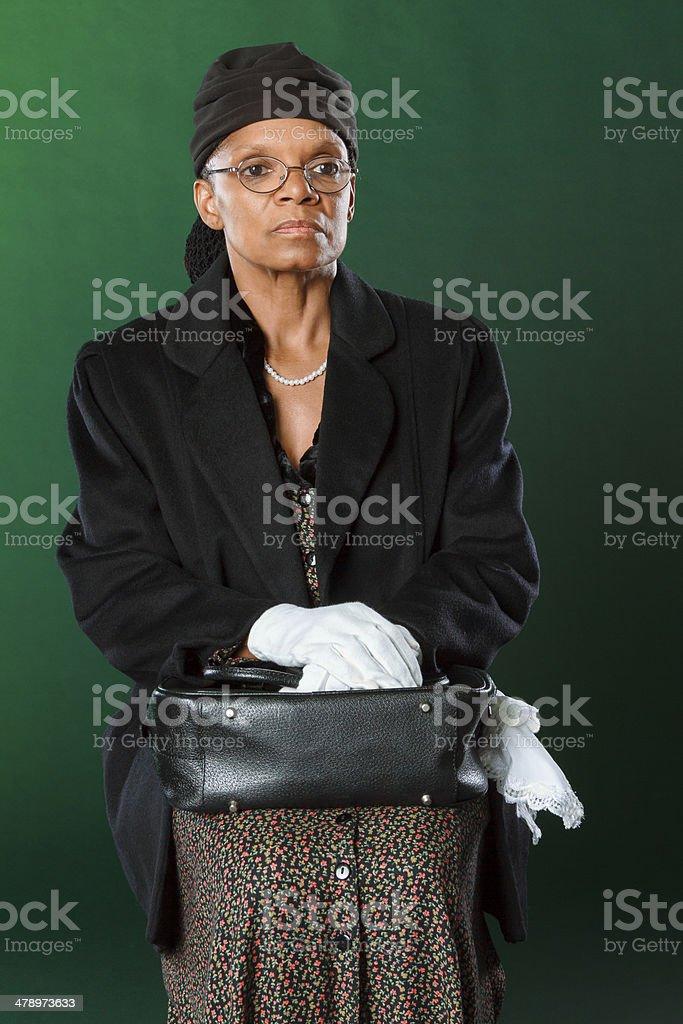Performance Artist Portraying Rosa Parks stock photo