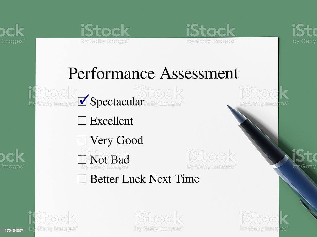 Performance Assessment stock photo