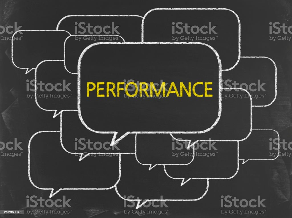 Performance - Business Chalkboard Background stock photo