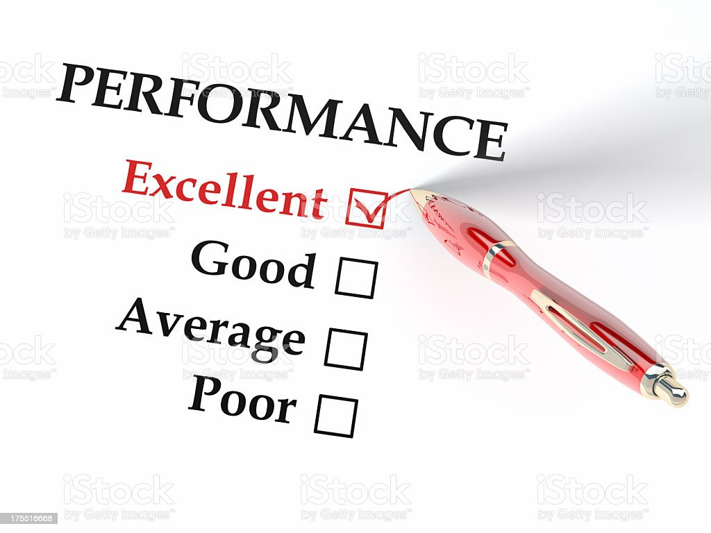 A performance form with excellent checked off royalty-free stock photo