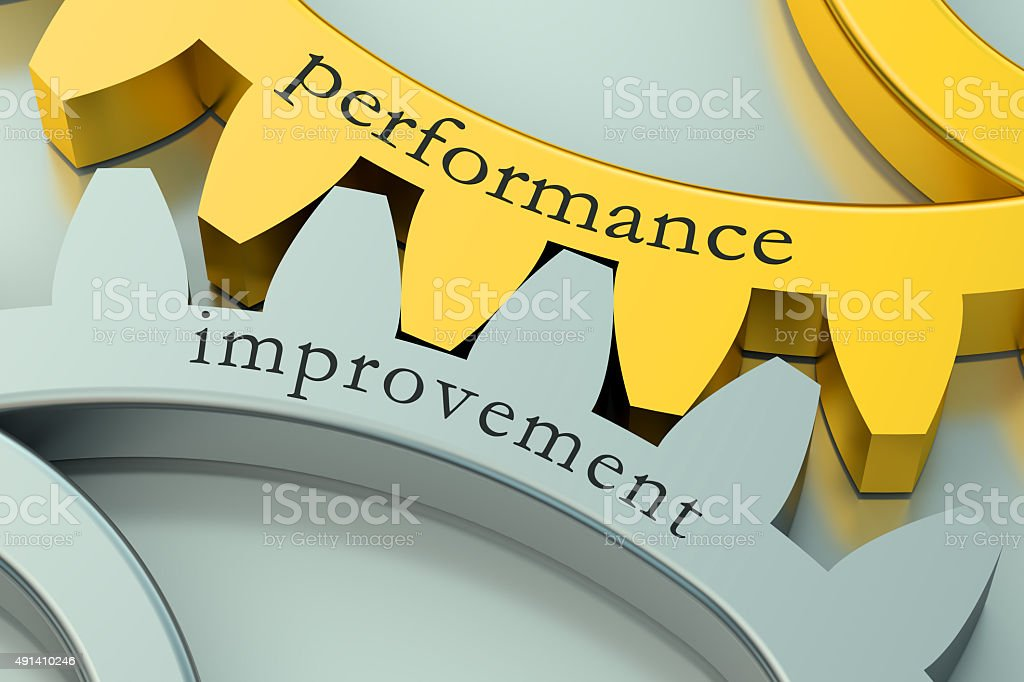 Performance Improvement concept on the gearwheels stock photo