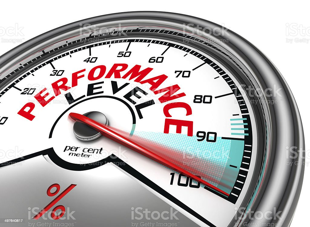 performance level conceptual meter stock photo