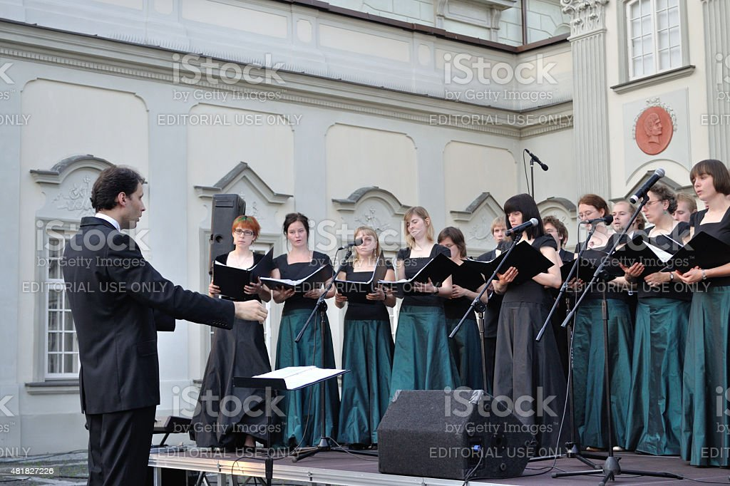 Performance of the choir. stock photo