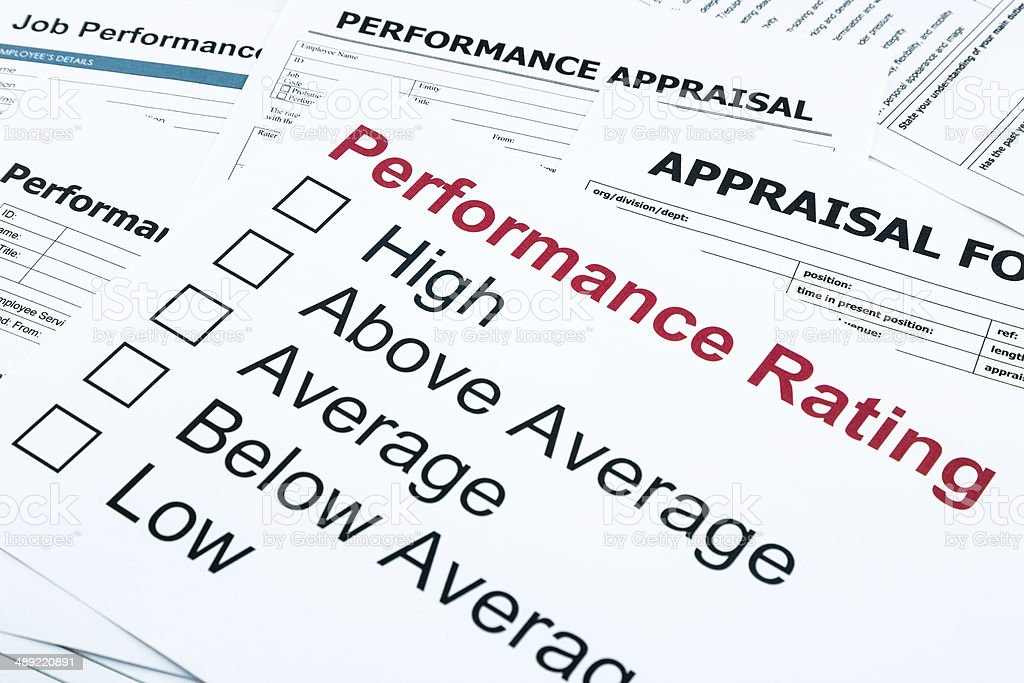 performance rating and appraisal form stock photo