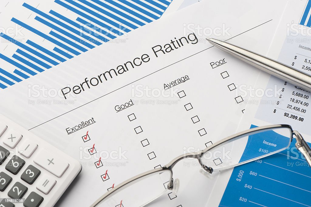 Performance rating form on a desk stock photo