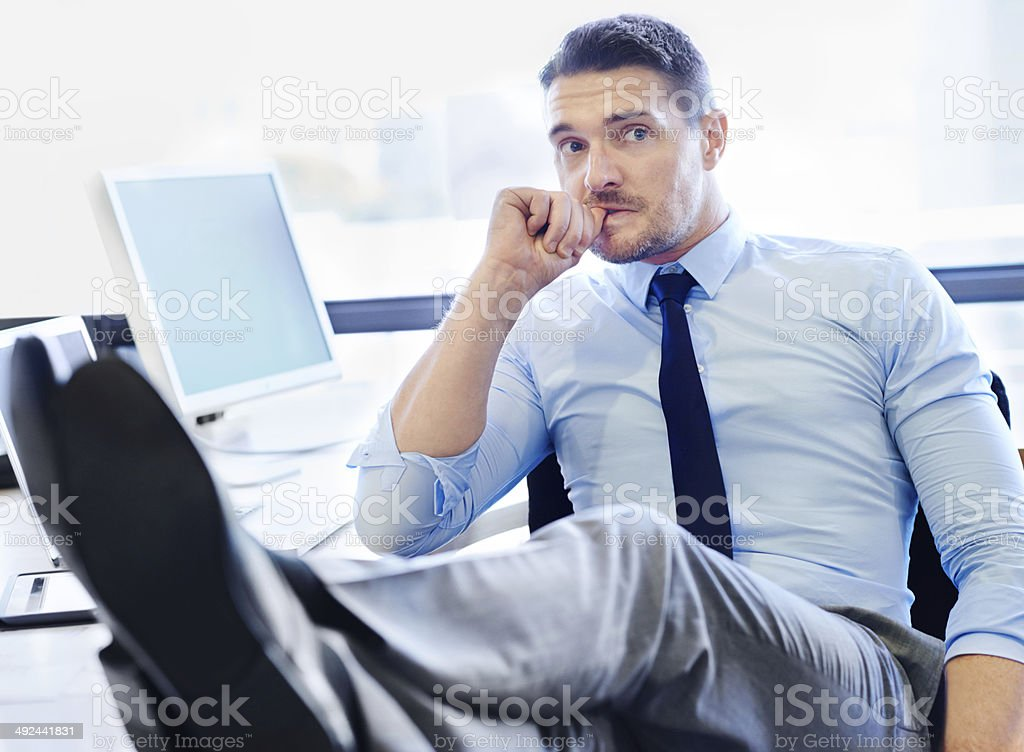 Performance reviews make him REALLY nervous stock photo