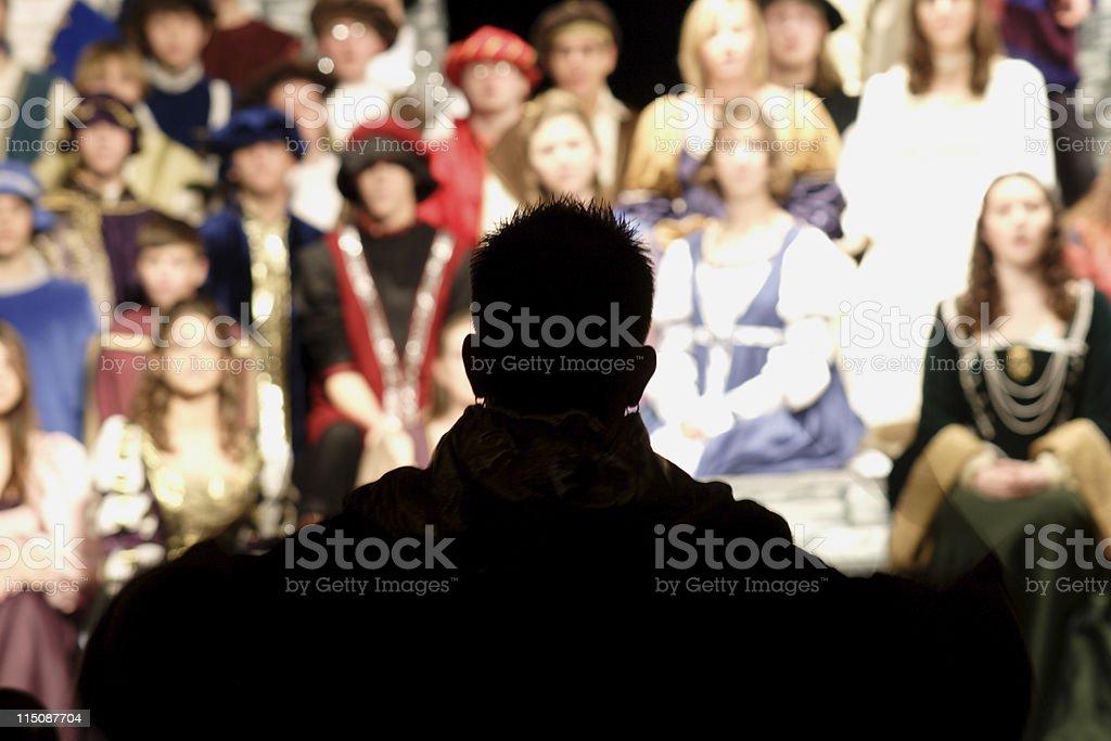 performance scenes - director silhouette stock photo